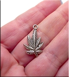 Marijuana Charm, Antique Silver
