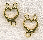 Heart Rosary Connectors or Y Necklace Findings, Bright Gold Finish, 22x14mm (10)