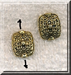 Fancy Rectangle Pillow Beads, Antique Gold, 15x9mm, Bulk (10)