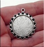 Scallop Bezel Pendants with Black Crystals for Glue in and Glaze Projects, 22mm Inset Bulk (6)