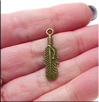 Double Sided Feather Charm Antique Brass