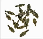 Small Feather Charms Antique Brass (20)