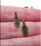 Small Bailed Double Sided Feather Charm Antique Brass Finish