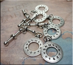 Clock Toggles, Steampunk Toggle Clasps (6)
