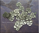 I Love You Charm, Heart Tag, 10mm