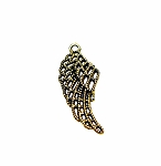 Antique Gold Pewter Lacey Angel Wing Charm Pendant 32x13mm
