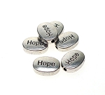 Oval Hope Beads with 2mm Hole Antique Silver Wholesale Bulk (6)