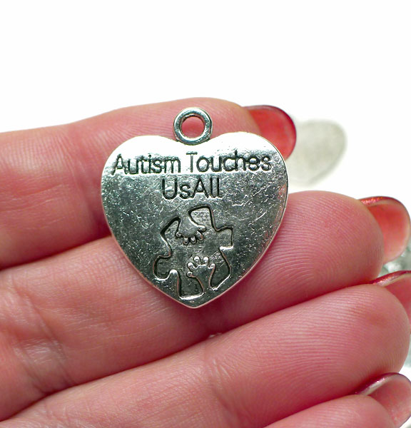 Wholesale silver autism awareness jewelry autism touches us all autism charms pendants autism touches us all heart 10 aloadofball Images