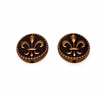 Copper Fleur-de-lis Beads 16mm with 1.5mm Hole Pewter New Orleans Lily Beads Bulk (10)
