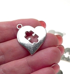 Autism Awareness Heart Charm Pendant, Autism Jewelry