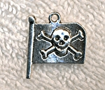 Silver Pirate Flag Charm with Skull and Crossbones, Pewter Jolly Roger Charm