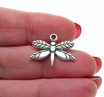 Silver Dragonfly Charms, Antique Silver Pewter Dragonfly Jewelry Charms, Bulk (15)