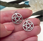 Silver Pentacle Charms Pewter Pentagram Charms 16mm Bulk (10)