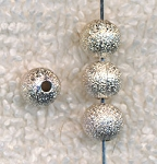 Silver Plated 6mm Round Stardust Ball Beads (20)