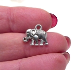 Tibetan Silver Elephant Charm, Double Sided Elephant, Elephant Jewelry