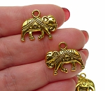 3D Indian Elephant Charm Antique Gold Finish