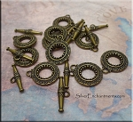 Brass Fancy Toggle Clasps 14mm (10)