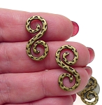 Antique Bronze Double Sided Hammered Swirl S Hook Jewelry Finding