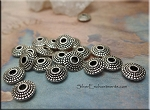 Wholesale Tibetan Silver Patterned Saucer Spacer Beads, 8mm Rondelle Beads with 2mm Hole, Bulk (20)