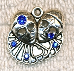 SOLDOUT - Clown Pendant, Pagliacci Italian Clowns Pendant with Blue Crystals - CLOSEOUT