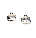 Live Word Charm with Spiral, Double Sided Antique Silver Small 11mm