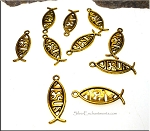 Jesus Christian Fish Charms Antique Gold Finish Bulk (10)