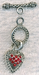 Toggle Clasp with Red Crystals, Suspended Heart Clasp
