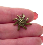 Spiral Sun Charm Necklace, 17mm Antique Brass