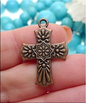 Antique Copper Cross Pendant Double Sided Southwestern Style