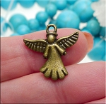 Angel Charm Double Sided Antique Brass