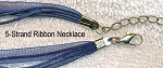 Navy Blue Organza Necklaces with Waxed Cord and Clasp 17 inch Bulk (10)