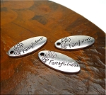 Silver Faithfulness Message Charms, Antique Silver Pewter Faithfulness Word Charms, Bulk (10)
