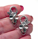 Flower Lobster Clasp with Antique Silver Finish 25x12mm