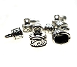 Oval Jewelry End Caps with Swirl Detailing, Antique Silver (10)