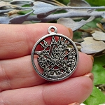 Tetragrammaton Necklace, 23mm Pentagram Pendant, Esoteric Pagan Jewelry