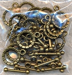 Brass Flower Toggles, Flower Petal Toggle Clasps (20)