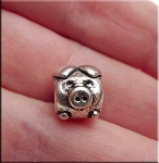 Pewter Pig Large Hole Bead, Antique Silver Plated Finish Big Hole Pig Charm Bead