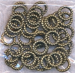 9.5mm Closed Twist Jump Rings, Antique Brass Finish (50)
