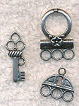 3 piece Lock and Key Jewelry Toggle Clasp and Charm Set