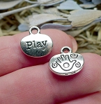 Silver Play Charms with Spiral Hand, Antique Silver Pewter Play Oval Word Charms, Bulk (10)