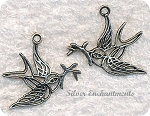 Filigree Peace Dove Pendant 34x32mm Antique Silver
