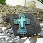 Wholesale Large Hammered Cross Jewelry Connector with Turquoise Center and Verdigris Patina, Bulk (6)