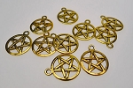 Pentacle Charms, Pentagram Jewelry, Antique Gold Finish (1)
