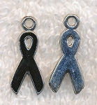 Black Ribbon Charms, 4pc
