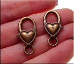 Heart Jewelry Clasp, Heart Lobster Trigger Clasp, Antique Copper Finish