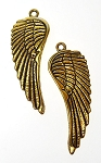 Large Angel Wing Pendants, Antiqued Gold Double-sided (6)