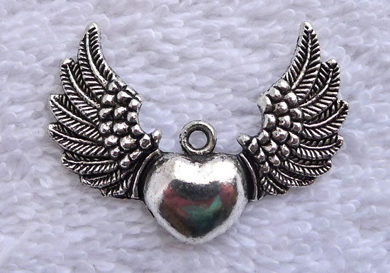 Wholesale angel wing heart pendants antiqued silver sufi heart with wholesale angel wing heart pendants antiqued silver sufi heart with wngs pendants bulk 10 aloadofball Image collections