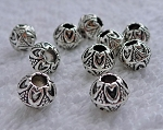 Fancy 8mm Ball Beads with 2.5mm Hole, Antique Silver (10)