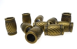 Large Hole Fancy Tube Beads, Antique Brass (10)