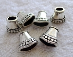 Jewelry Cones, Antique Silver Fancy Jewelry Cone Findings, Bulk (6)